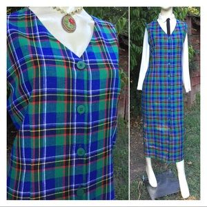 Vintage Plaid Jumper Dress